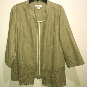 Coldwater Creek 18 Linen Blend Khaki Jacket